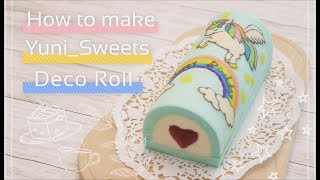 How to make pegasus design Roll cake! | yunisweets Deco Roll