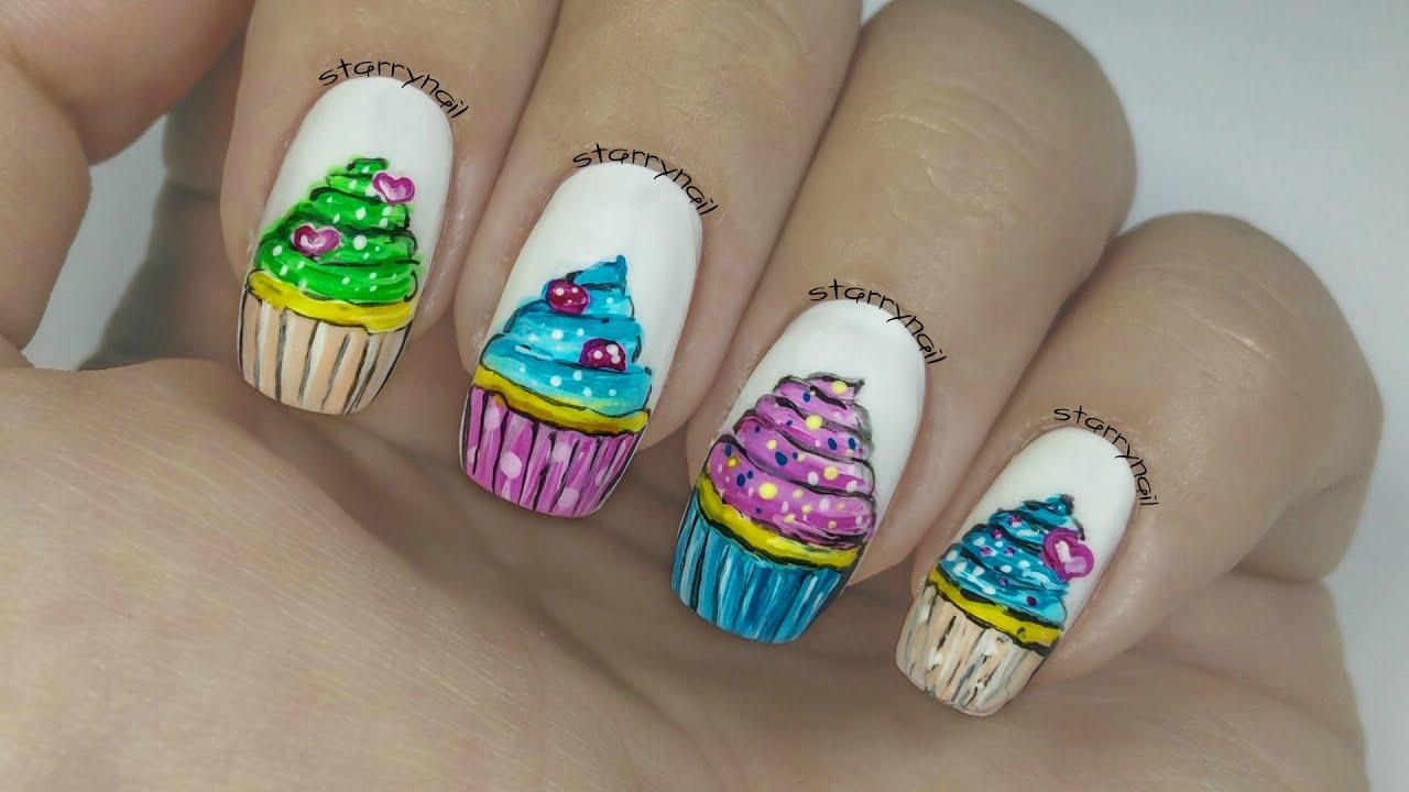 Cupcakes Freehand Nail Art Youtube