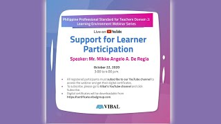 VIBAL LIVE NOW | Support for Learner Participation