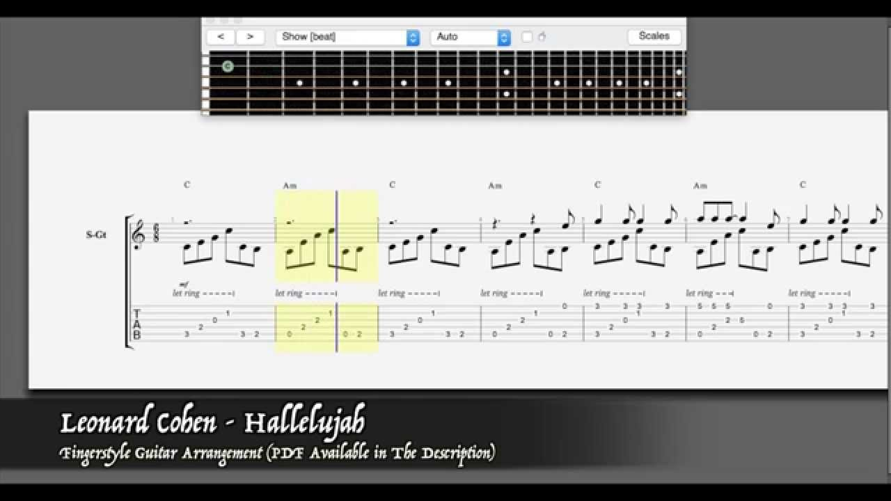 Leonard cohen hallelujah easy fingerstyle guitar arrangement pdf available
