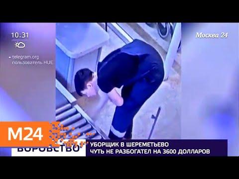 Уборщик в Шереметьеве чуть не разбогател на 3,6 тыс долларов - Москва 24