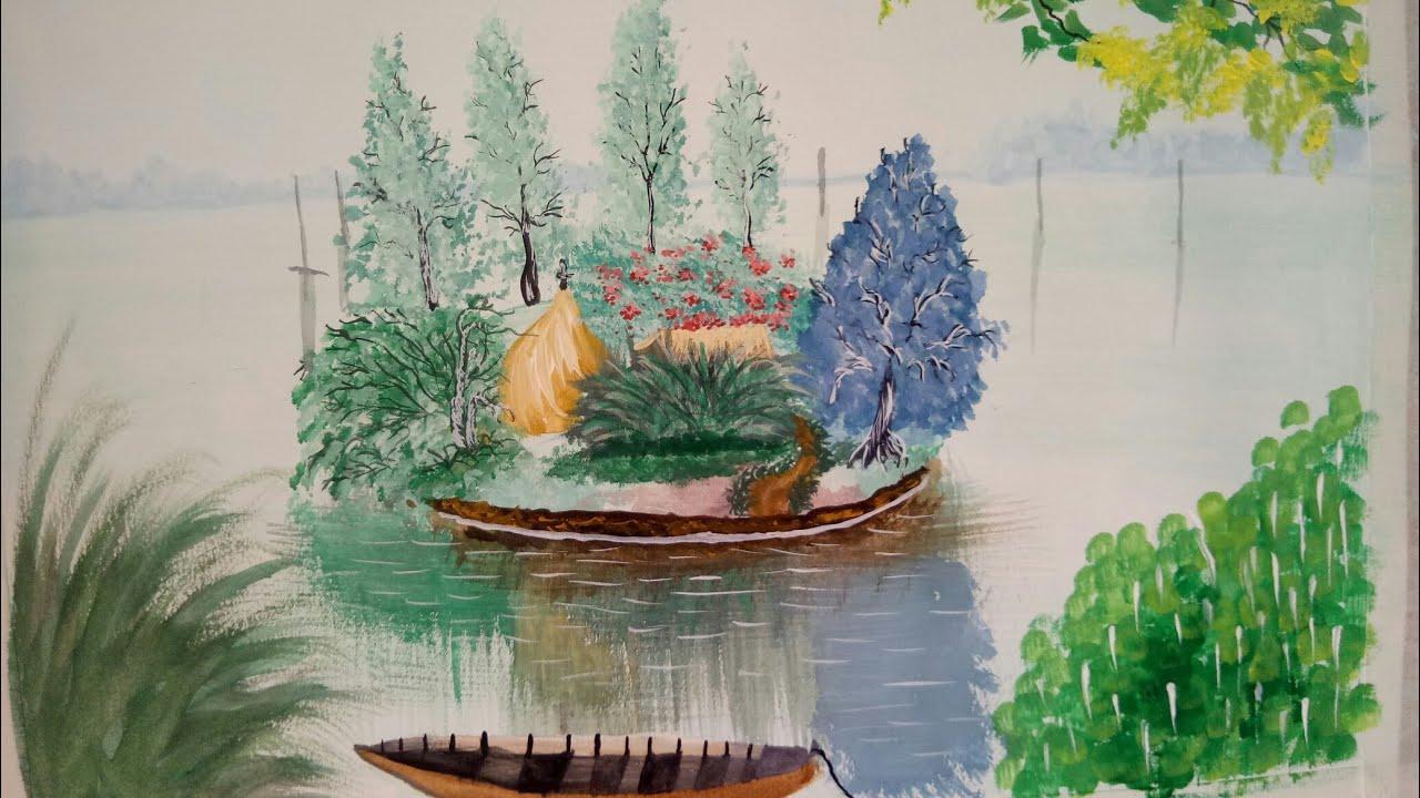Vẽ tranh phong cảnh màu nước / vẽ tranh phong cảnh quê hương