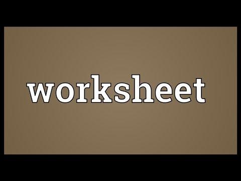 Worksheet Meaning