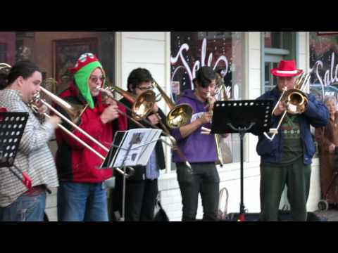 Eleven Trombones Play Christmas Carols At Papillon Coffee Shop In Lafayette, CA