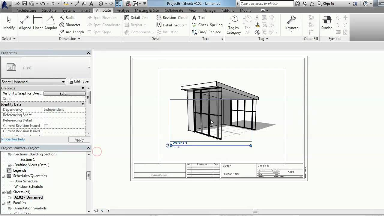 drafting view on 3d view in Revit