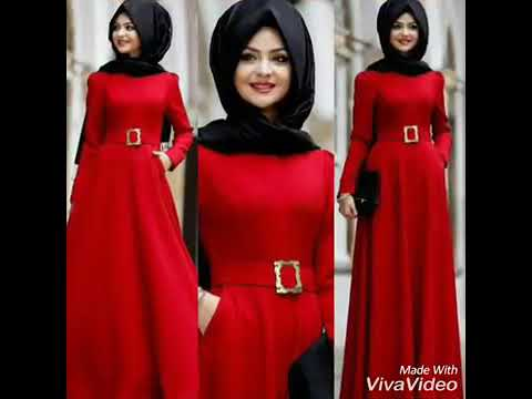 823b557a4 ملابس محجبات فساتين باللون الأحمر لإطلالة ليلة رأس السنة 2019 ...