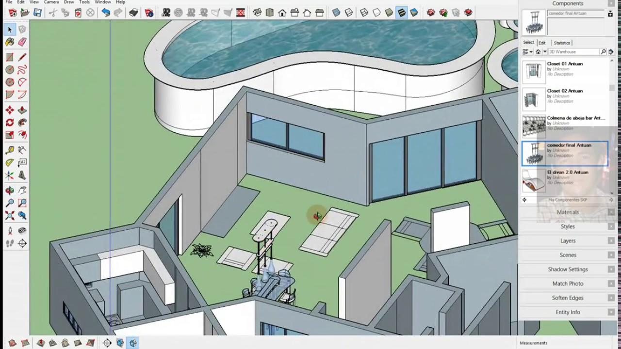 Sketchup como construir casa a partir de planos autocad for Casa minimalista planos dwg