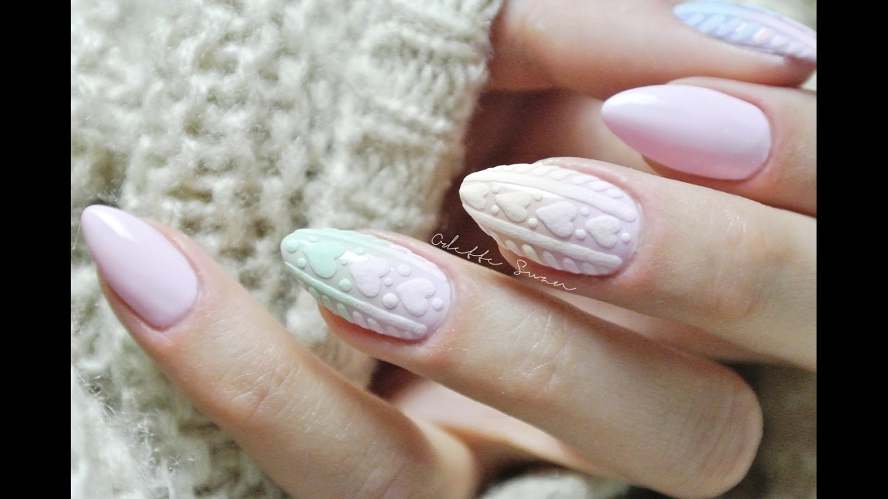 Pastelowe Ombre Bez Gąbki Diy Knitted Ombre Nails Szron