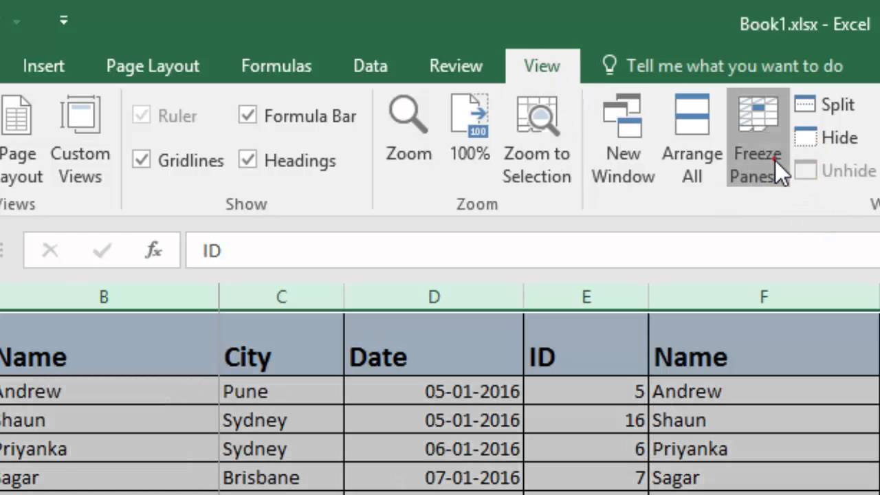 how to fix column in excel