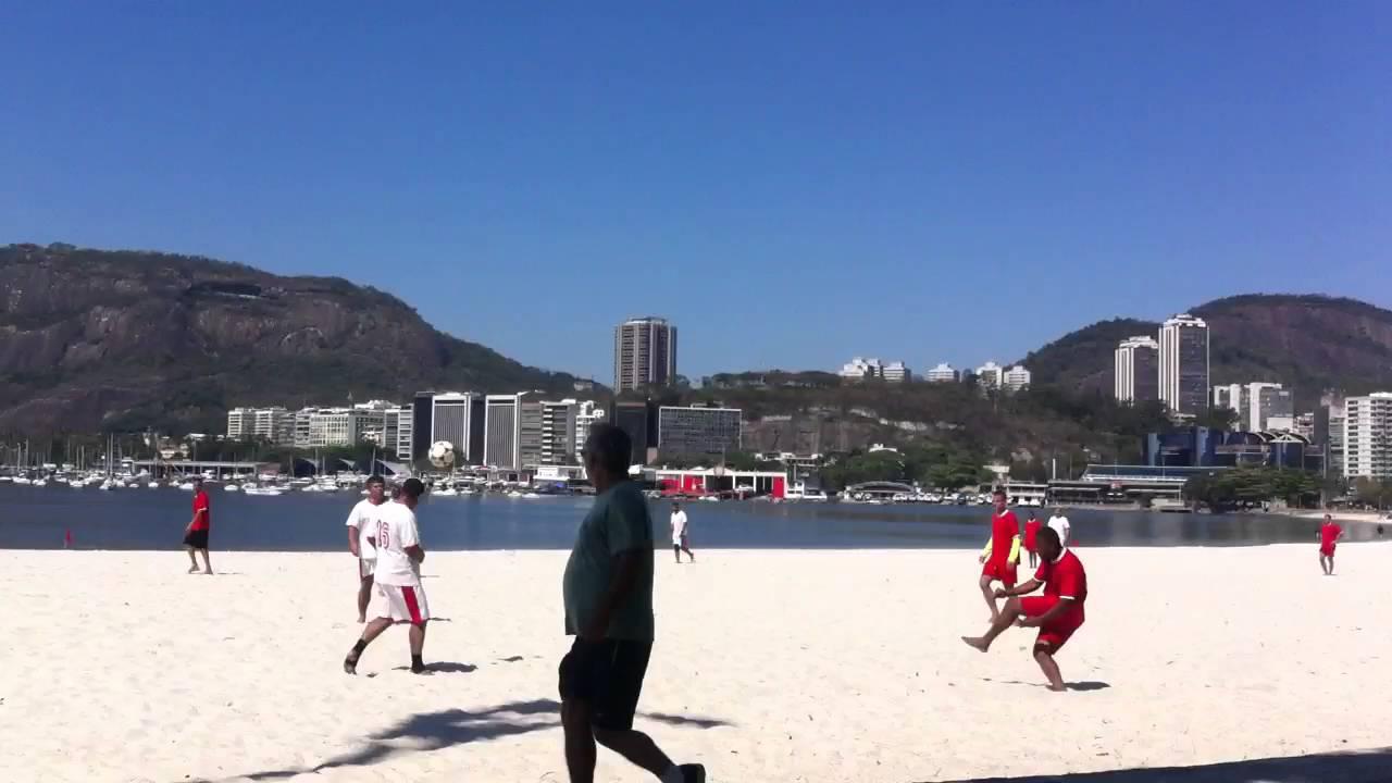 Soccer on the Botafogo beach, 32*C