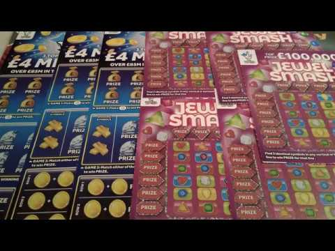 Wow!..BIG GAME..NEW..4 MILLON Pound Scratchcards..New.JEWEL SMASH