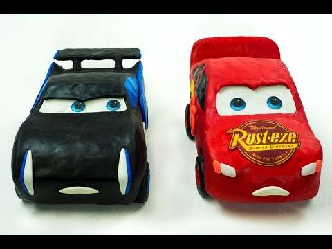 Lightning Strikes McQueen vs Storm Race to Finish Line Play-Doh Stop Motion Cars Toys Movies Kids