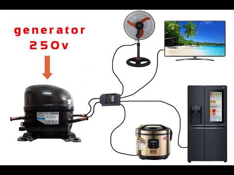 How to turn a refrigerator compressor into a 250v generator