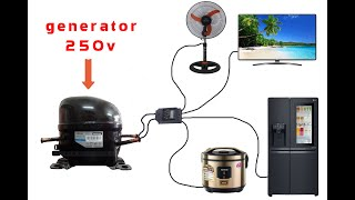 How to turn a refrigerator compressor into a 250v generator