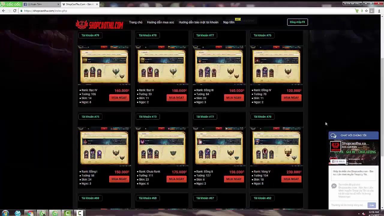 Hướng dẫn mua acc Liên Minh Huyền THoại giá rẻ tại Shopcaothu.com