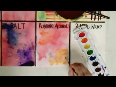 Watercolor Experiments: Salt, Rubbing Alcohol, Plastic Wrap