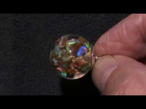 "Floating Opals Necklace Rare Australian Jundah Pipe Opal Silver cap 18"" cardano  chain"