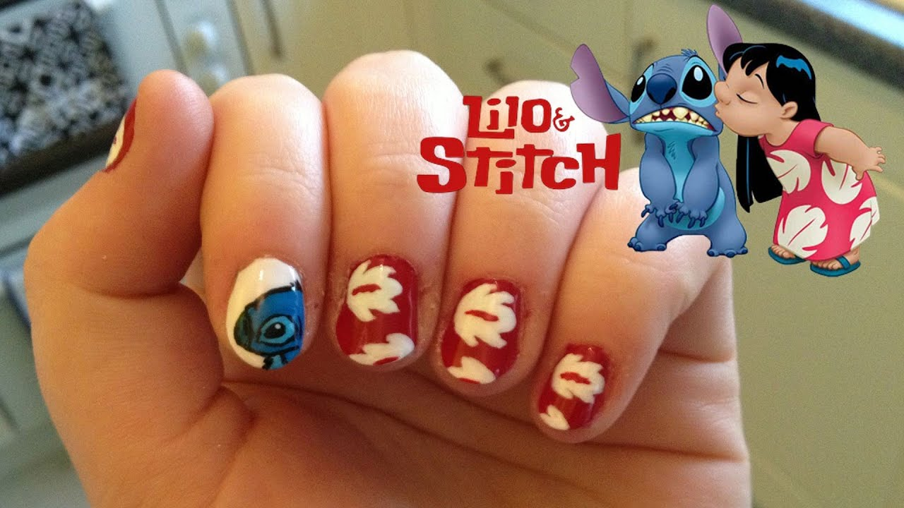 Lilo and Stitch Nails - YouTube