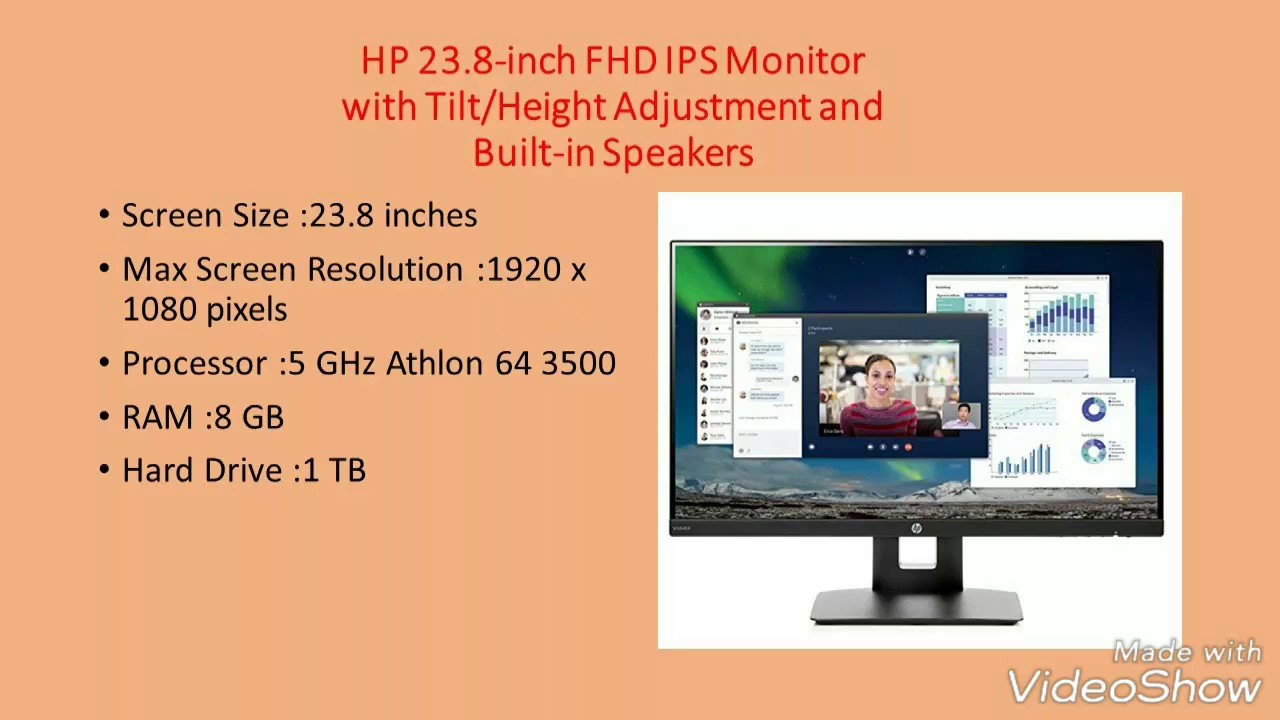 HP 23.8-inch FHD IPS Monitor with Tilt//Height Adjustment and Built-in Speakers