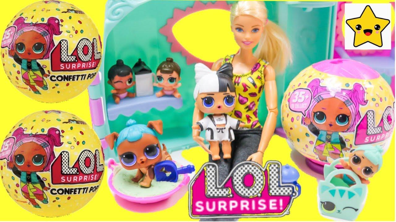 MUÑECAS LOL SORPRESA CONFETTI POP -barbie cuida  Bebes que Hacen Pipi, Lloran y Cambian de color