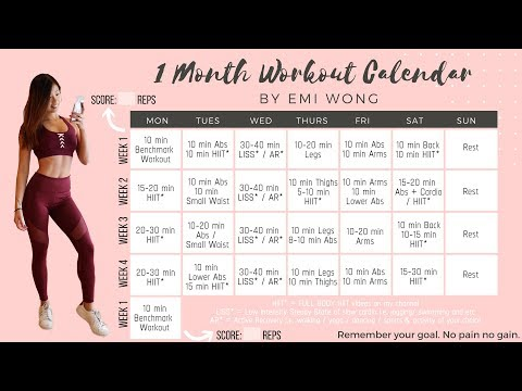 1 MONTH WORKOUT CALENDAR TO LOSE WEIGHT AND GET FIT! + 10 min FAT BURNING HIIT Full Body Workout