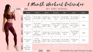 1 MONTH SUMMER WORKOUT PLAN TO LOSE WEIGHT AND GET FIT! + 10 min FAT BURNING HIIT Full Body Workout