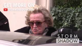 EXCLUSIVE: Bernadette Chirac coming out of the Bristol Hotel in Paris