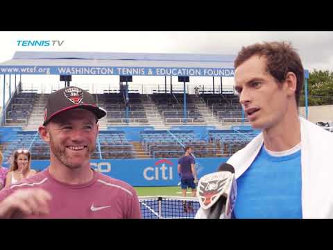 Andy Murray hits (and kicks!) with Wayne Rooney in Washington | Citi Open 2018