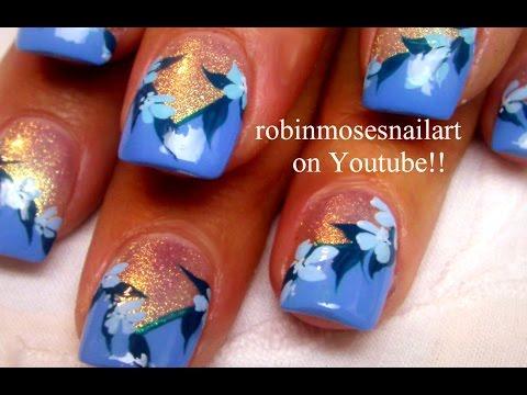 blue nail art  diy easy flower nails design tutorials