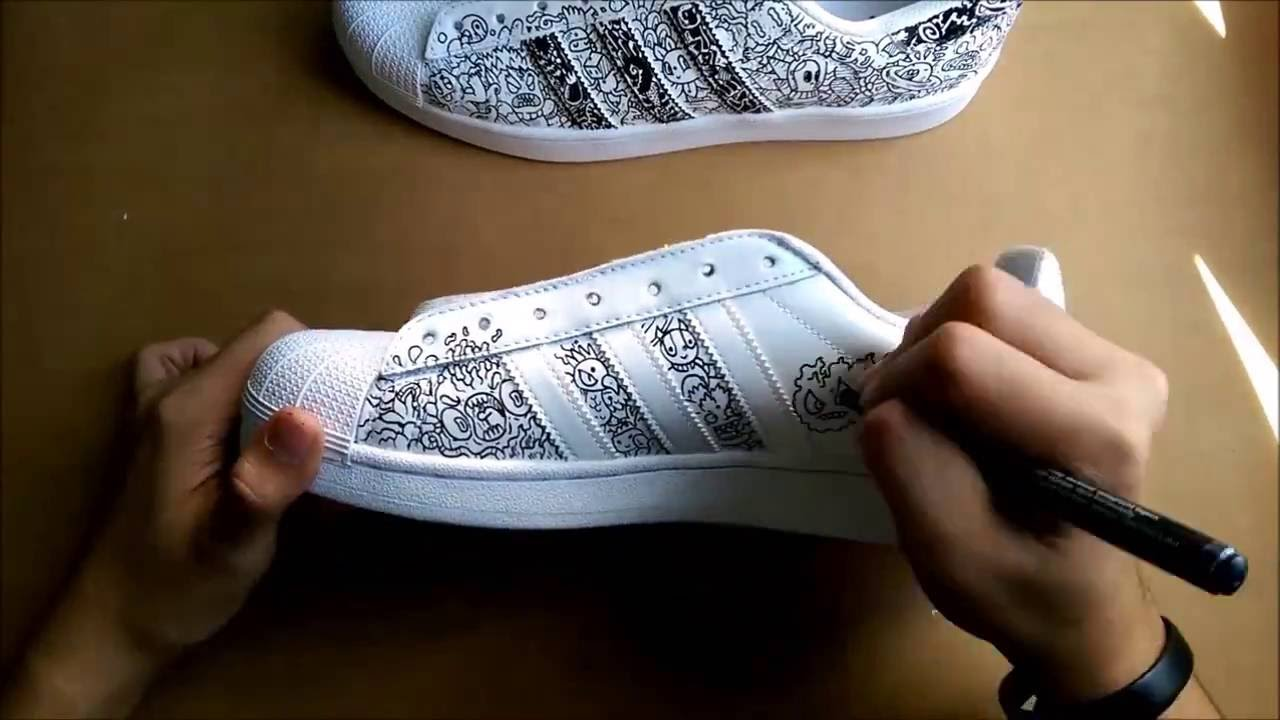 49df76b9d94a Doodle Shoes   Adidas Superstar 1 - YouTube