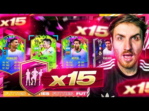 What do you get from 15 Guaranteed Futties Party Bag Player Pick Packs?