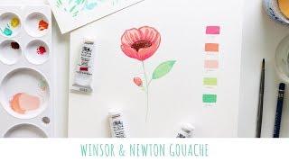 Winsor & Newton Gouache - Flower Painting Demo - Gouache Painting for Beginners