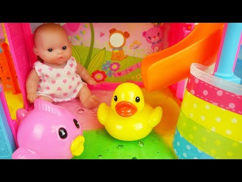Baby doll park slide and water play toys