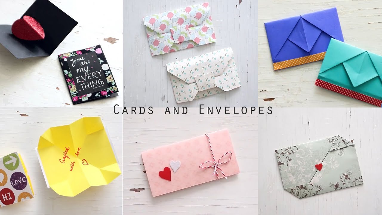 6 handmade envelopes and cards