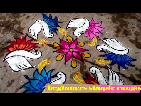 birds-rangoli-kolam-9-dots//9x5-dots-birds-kolam//beginners-simple-rangoli