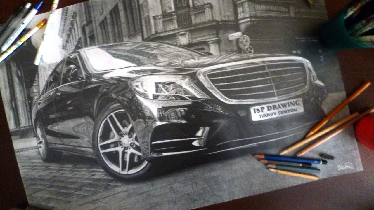 Realistic Pencil Drawing Mercedes Benz S Class W222
