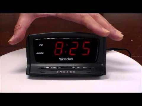westclox auto set digital led electric alarm clock youtube. Black Bedroom Furniture Sets. Home Design Ideas