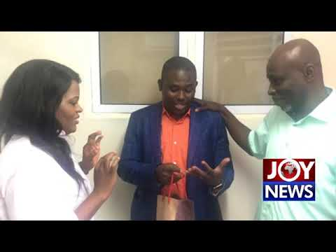 Vodafone CEO, Yolanda Zoleka Cuba surprises Joy Fm's Nhyira Addo on his birthday.