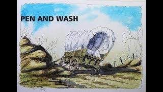 How to draw and paint Abandoned Covered Wagon,Pen and Wash Nil Rocha