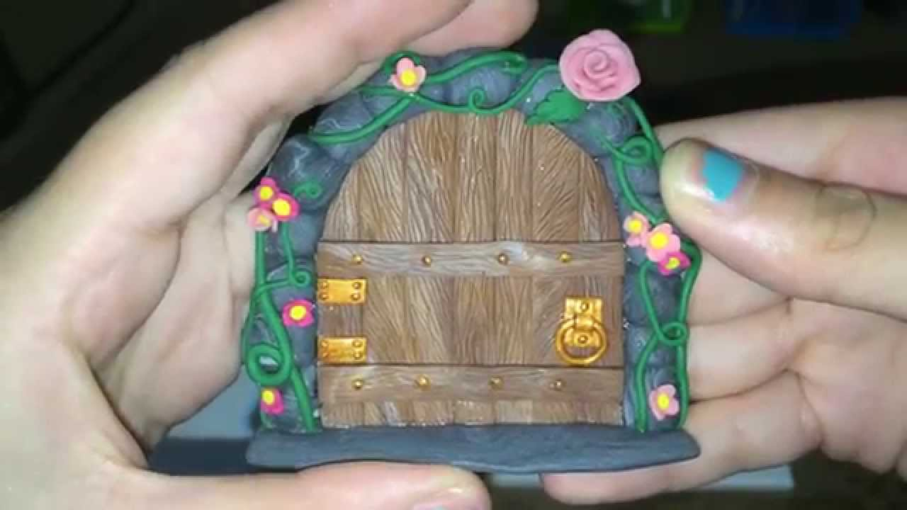 Polymer clay fairy door collection youtube How to make a fairy door out of clay