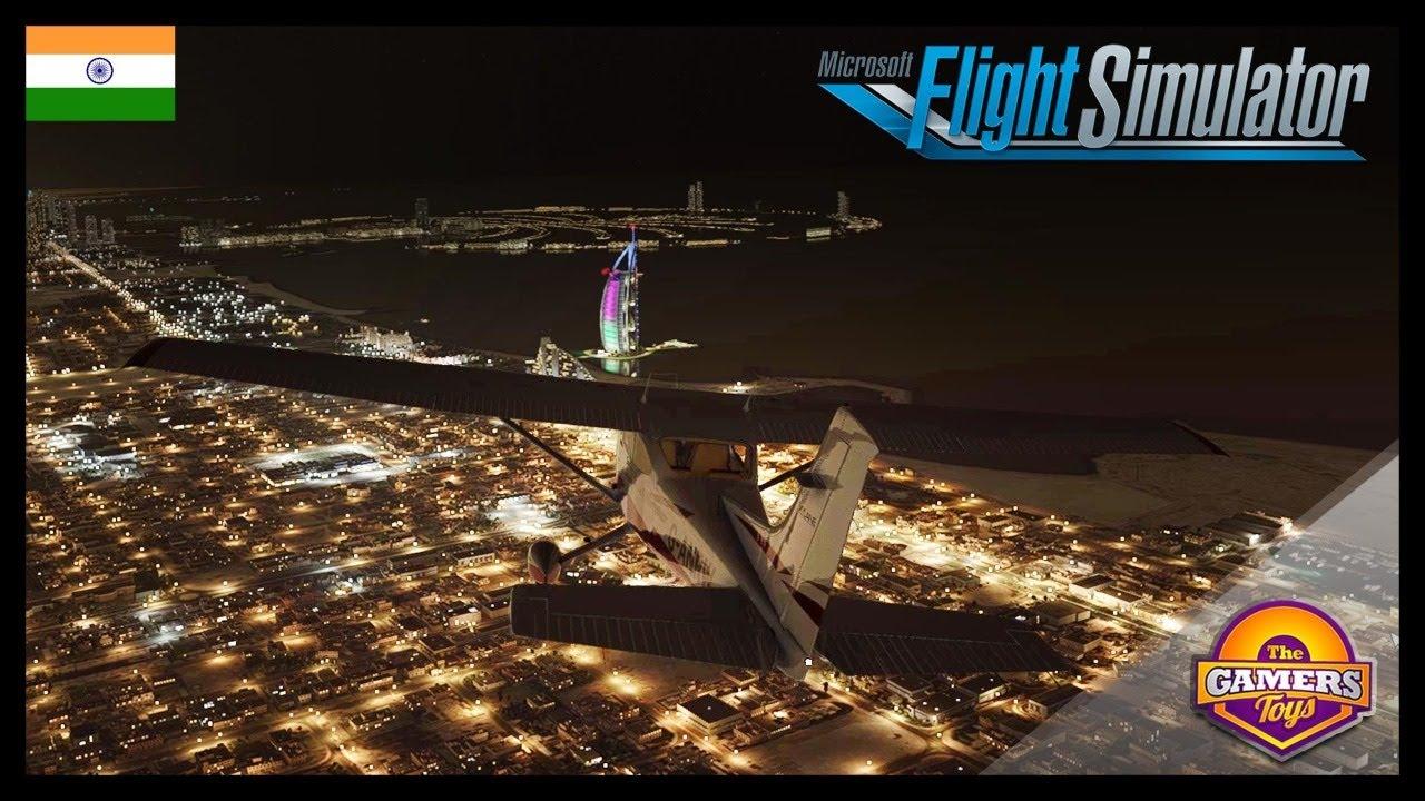 DUBAI Night City In MSFS 2020 Feat. Burj Khalifa, Palm Jumeirah, Burj Al Arab   Ultra HD Graphics