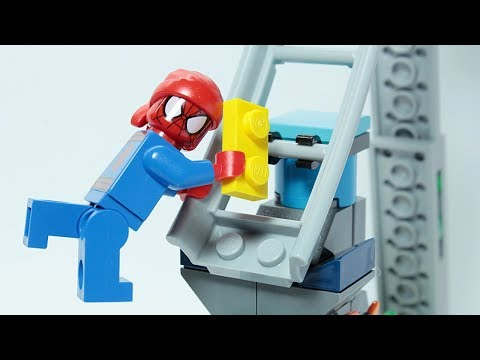 Lego Spider Man Brick Building Pirate Ship Attraction Roller coaster Animation for Kids