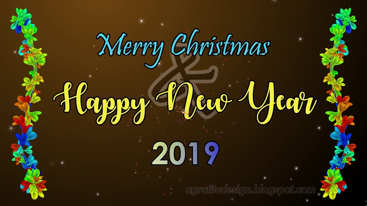 merry christmas and happy new year greeting card 2019 animation