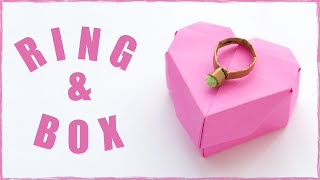 Origami ring and origami ring box from paper. Simple origami