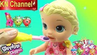 BÉ NA CHĂM SÓC BÚP BÊ BABY ALIVE DOLL Đồ chơi shopkins mới của KN Channel