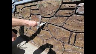 Оформление цоколя под декоративный камень оформление окна под ковку. Decorative Rock. Art Concrete.