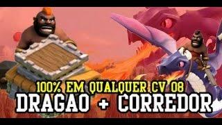 Clash Of Clans #11 - PT Em Qualquer CV 08 FULL! (DRAGÃO + CORREDOR)