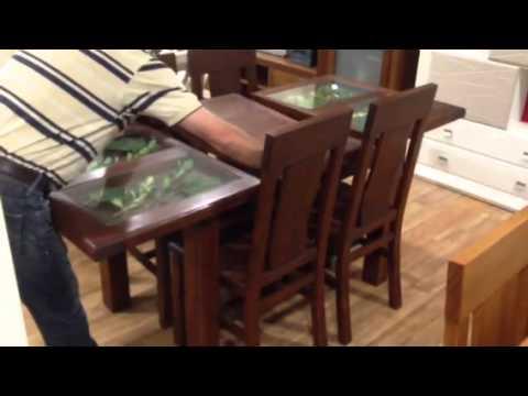 Oferta mesa extensible de madera con cristales - Cristales para mesa ...