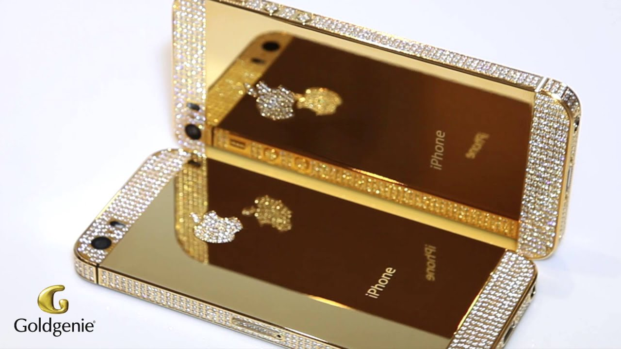 Gold iPhone 5s Swarovski Elite Bezel Top and Bottom Logo Video  Goldgenie  ea8dffddf7c9