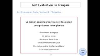 Tef / Tef Canada - Section B, Expression Orale : LES ARGUMENTS